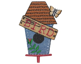ID 3115 Bird House Patch Home Nest Craft Badge Embroidered Iron On Applique