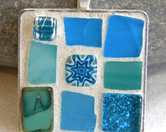Mosaic Pendant - AQUA/TURQUOISE/TEAL Jewelry Necklace - Stained Glass - Beads