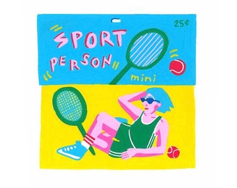 Sport Person, 6 x 6 inch acrylic on wood panel