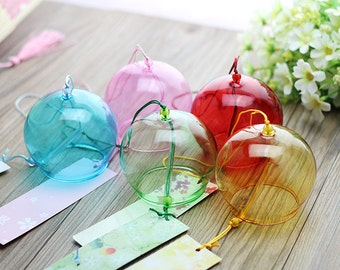 2 pieces 8*7cm JAPANESE Traditional Glass Furin wind Bell wind Chime windbell lucid transparent for DIY