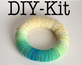 DIY Kit : Bracelet made of book pages and turquoise papers