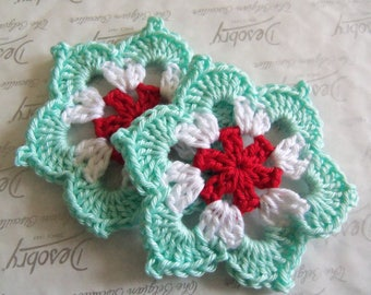 Set of Two Large Crochet Flower Appliques. 3.5 Inches Crochet Flowers.