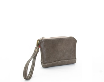 Wristlet in Smoke gray taupe, zipper pouch, wrist bag, leather clutch, small leather clutch, brown leather clutch, ready to ship