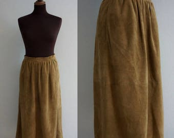 Tan Suede 1970s Skirt / Vintage Leather Skirt