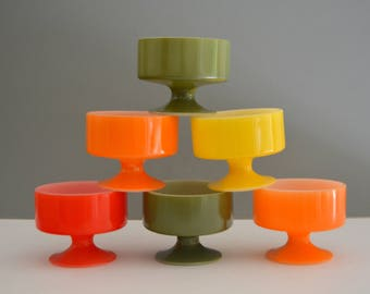 Vintage Federal Glass Ice Cream Cups - Mid Century Retro Red Yellow Orange Green Collection Set of Six