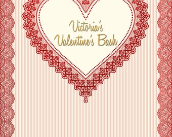 Custom Valentine's Party Celebration Backdrop Banner Printed Background Photo Booth Prop (Any Text or Background Color)