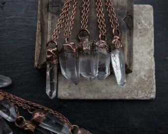 Beautiful Clear Quartz Crystal Necklace Point. Copper Pendant. Quartz Crystal Pendant. Fashion Necklace. Boho Jewelry. Vegan. Goddess. Raw