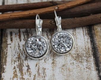 Silver Lever-Back Earrings - Faux Silver Druzy Earrings - Druzy Earrings - Sparkly Earrings - 12mm - Silver Earrings -  Faux Druzy - Dangle