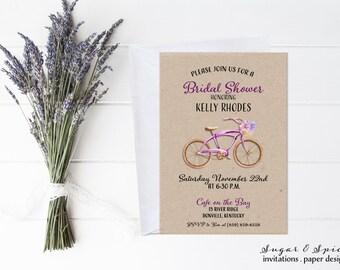 Bicycle wedding shower invitations etsy rustic bridal shower invitation bicycle bridal shower invitation bike bridal shower invitation watercolor filmwisefo Choice Image