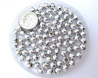 100 Metallic Silver Faceted Beads 6mm Acrylic Round disco ball