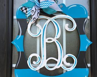 Monogram Door Hanger Painted Wood Letter Wreath Monogram