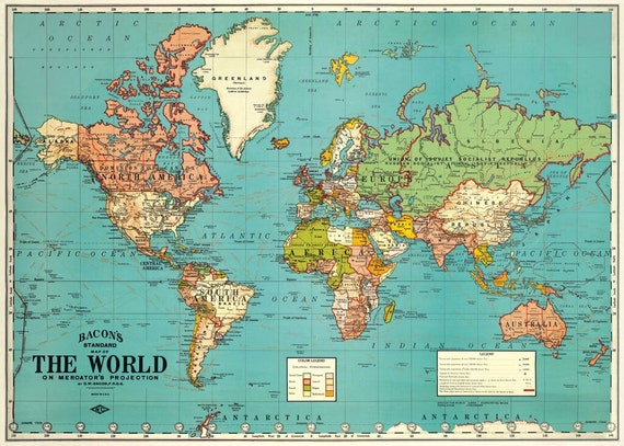 Vintage look world map gift wrap or poster by cavallini from vintage look world map gift wrap or poster by cavallini from sunchowdersvintage on etsy studio gumiabroncs Choice Image