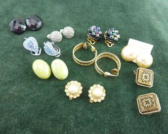 vintage job lot of 9 pairs clip on earrings rhinestones , ring , flowers leafs
