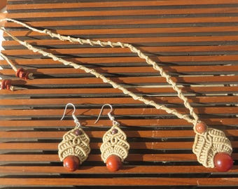 macrame set: necklace and earrings