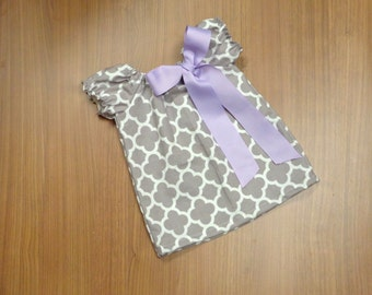 Grey Quatrefoil Lavender Summer Spring Short Sleeve Dress Embroidery Bow 0-3 3-6 6-9 9-12 Month 12 Month 18 Month 2t 3t 4t 5t 6 Nautical