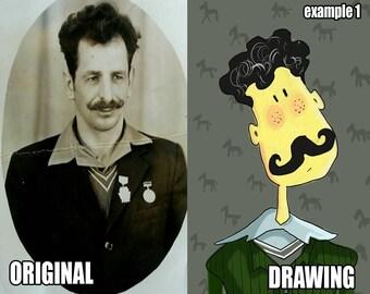 Custom Portrait - Digital Portrait - Caricature Portrait - Pet Drawing - Drawing from Photo - Digital Drawing - Digital Painting from Photo