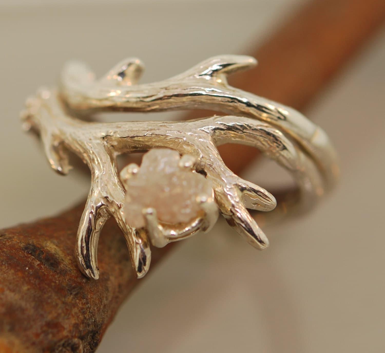 Antler Ring 2 Set with Raw Diamondrough diamond