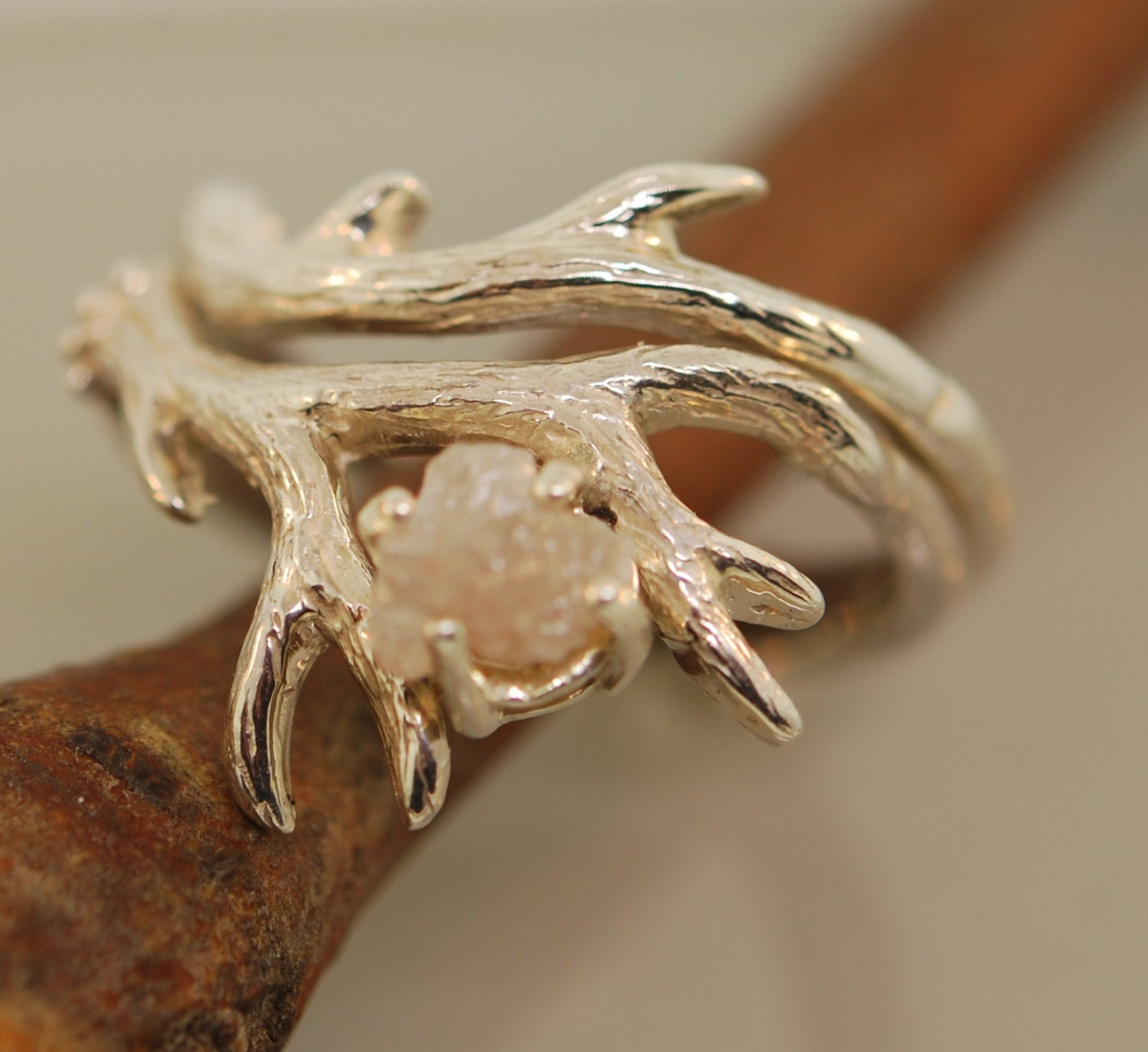 uncut rings inspired media canada ring raw jewellery rough made nature engagement leaf set in twig wedding diamond