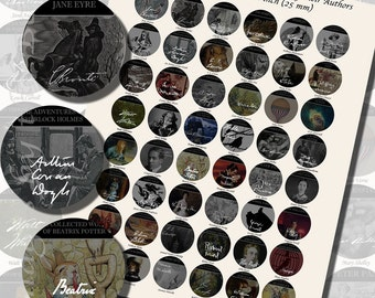 Author Signatures & Book Covers Printables, ONE INCH CIRCLES (25 mm), with 1/2 inch (13mm) and 3/4 inch (20mm) circles also included