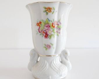 Vase Swan Gold Trim Flowers Vintage Japan