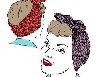 Vintage Turban Head Wrap Crochet Pattern ... Mesh Style Headband....  Get Your Pattern in 5 Minutes  PDF ... J431