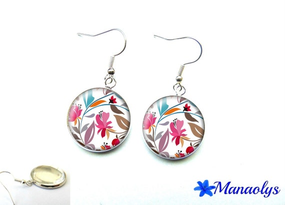 Earrings multicolored flowers, cabochons glass 2867