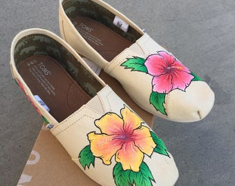Hibiscus Flower Custom Hand Painted TOMS Shoes