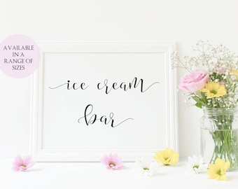 Ice Cream Bar Sign, Ice Cream Party Printable, Ice Cream Party Sign, Wedding Ice Cream, Sundae Bar Printable, Instant Download