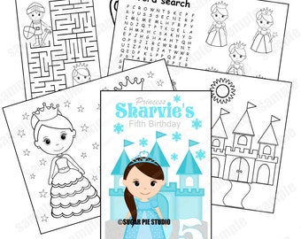 Snow Princess Coloring Book Birthday Party Favor Kids Activity PDF Or JPEG TEMPLATE