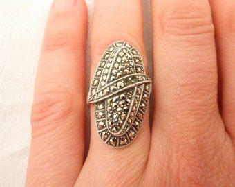 SALE ---- Vintage German Art Deco Sterling Silver and Marcasite Ring Size 6 1/2