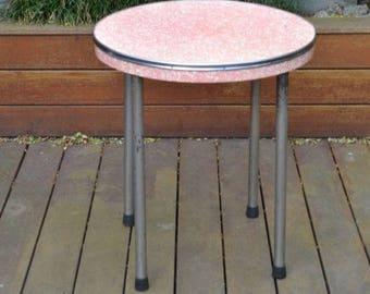 Vintage red laminate round kitchen table