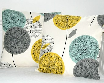 pair of teal grey mustard yellow decorative pillow covers , dandelion cushion covers 16 inch