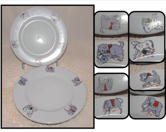 TWO - Vintage Lamberton Scammell Plates Platinum Blue, Dutchland Farms Restaurant Dishes, Animals