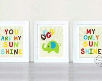 You are My Sunshine Prints for Nursery or Kids Room,  Baby Nursery Decor, set of three  8x10 boys room decor, Sunshine Art