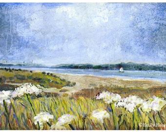 Art print - Landscape Dream Boat mixed media landscape - A4