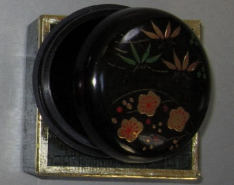 Vintage Pill Box in Red with Wild Flowers  by Sarsaparilla ~ Style # 7 Black
