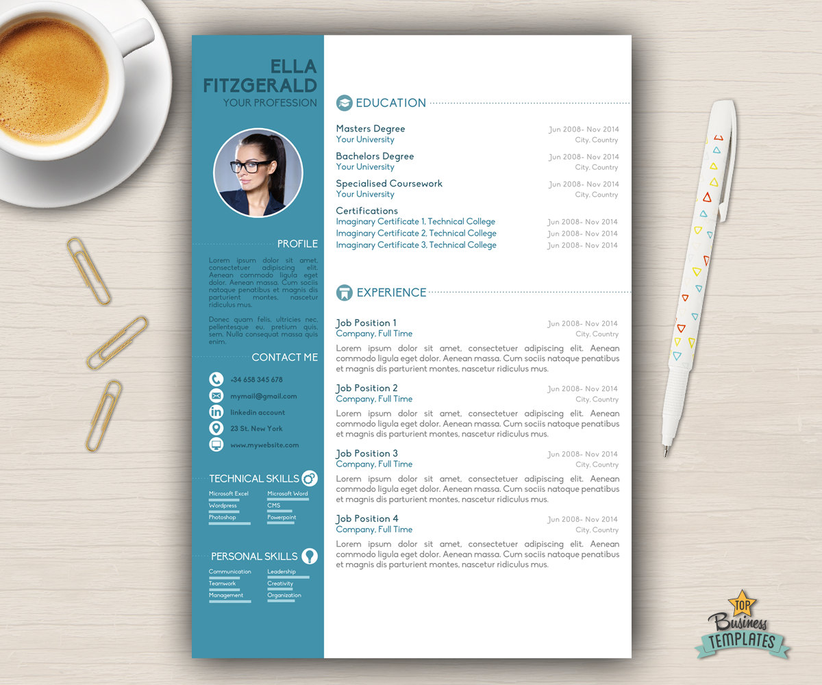 Resume template cv template for word cover letter creative zoom yelopaper