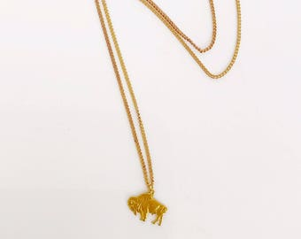 Buffalo necklace - charm - brass
