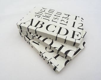 Typography notebook, typography journal, A6, coptic notebook, black, white, typography, letters, alphabet, numbers, rossi