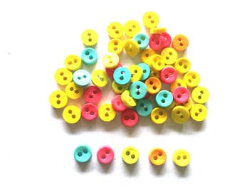 100 pcs Tiny Buttons micro buttons 2 holes size 6mm pink orange yellow light blue green