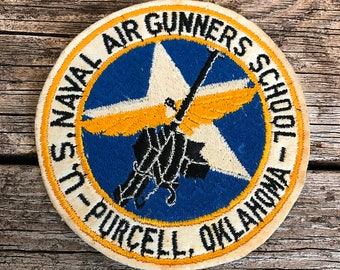 US Naval WWII Era Military Patch Air Gunners School Purcell Oklahoma Military Artifact US Navy Historical Patch