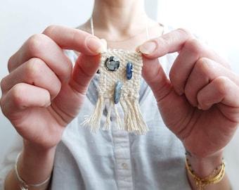 Necklace woven denim 1