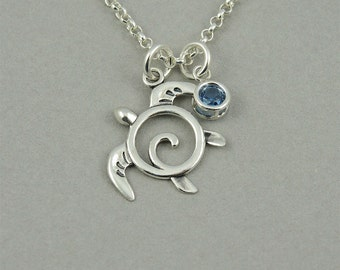 Turtle Necklace - Honu Sea Turtle Jewelry, ocean, jewelry, turtle gifts, sterling silver, birthstone necklace, birthday gift, turtle pendant