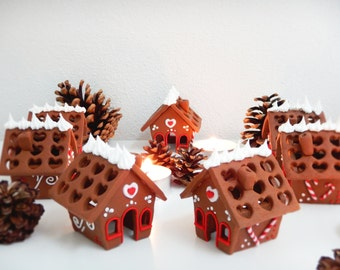 Gingerbread-House of Hansel and Gretel-Christmas-Placeholder table decorations, handmade, Fimo-Christmas table