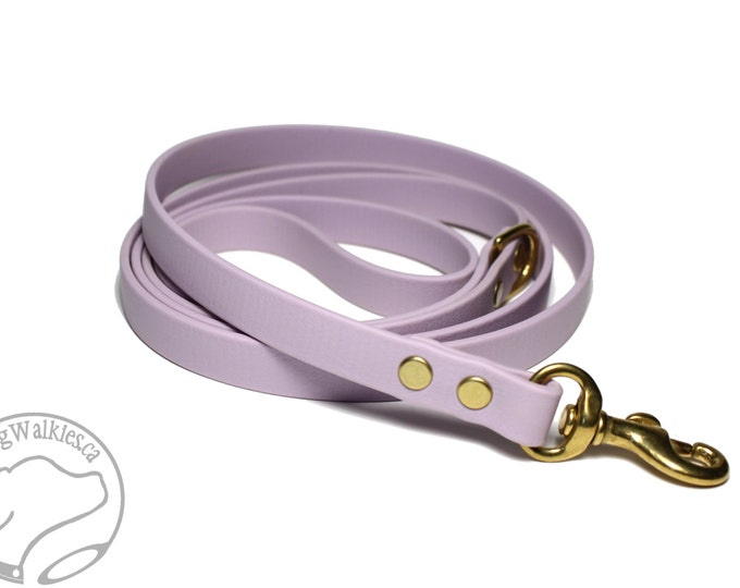 "Featured listing image: Lavender Pastel Purple Small Dog Leash - 1/2"" (12mm) Wide Biothane - Choice of: 4ft, 5ft or 6ft (1.2m, 1.5m or 1.8m) and Hardware Type"