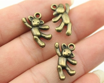 10 Teddy Bear Charms, Antique Bronze Tone (1D-6)
