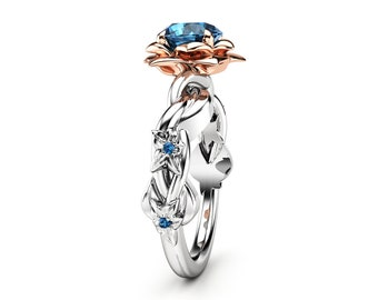 Diamond Engagement Ring Leaf Engagement Ring White Gold Ring Blue Diamond Ring