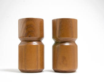 Copco Michael Lax Design Mid Century Wood Salt and Pepper Grinder pair
