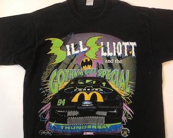 "Vintage 1995 Bill Elliott x Batman Forever ""Gotham city special"" NASCAR tee / 90s"