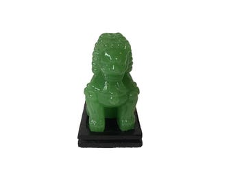 Peking Glass Jade Green Chinese Foo Dog on Wood Stand / Guardian Lion / Chinoiserie Decor / Foo Dog Figurine / Statue